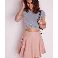 Missguided - Capped Sleeve Knot Crop Top Grey