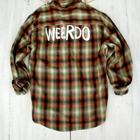 90s Grunge Flannel Shirt Weirdo - WEERDO - Boyfriend Flannel Womens Grunge Hipster Indie Gift Ideas for Her or Him Unisex Men's Plaid Shirt