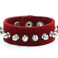 "Red Velvet Wristband 1/2"" Spikes Bracelet Cuff 1-1/2"" Wide"