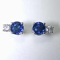 1.42ct Sapphire and Diamond Earrings diamond-studs 18kt White Gold JEWELFORME BLUE