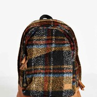 Spurling Lakes Plaid Fleece Backpack- Brown One