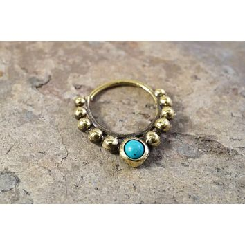 18 Gauge Brass Septum Ring Hoop with Turquoise Blue Gemstone