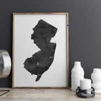 New Jersey Watercolor Printable Art New Jersey Poster State Watercolor Map  Watercolor Poster State Poster New Jersey Instant Download