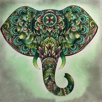5D Diamond Painting Green Abstract Elephant Kit