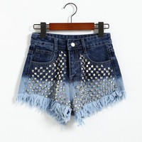 Fashion sexy female shorts denim shorts rivet spell color gradient = 4824010180