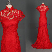 Chinese collar wedding gowns in red,elegant lace dresses for bridal,inexpensive women dress for wedding party.