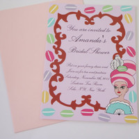 Marie Antoinette french macaron fancy printed bridal shower invitation sets