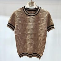 FENDI Hollow Women Short Sleeve Loose Top Sweater Pullover