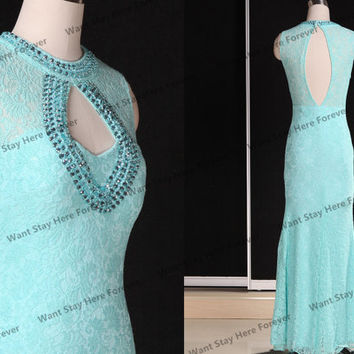 Green Lace Beading Long Chiffon Evening dresses,Long party dress,lace Bridesmaid Dress,lace Prom Dresses,long prom dresses