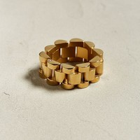 King Ice 14K Gold Link Ring | Urban Outfitters