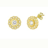 Flower Petal Stud Earrings Yellow Gold Plated Pave White CZ Cubic Zirconia 10mm