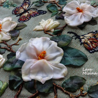 Framed Limited Edition Unique Floral Wall Tapestry Wall Hanging  Green White Magnolia Exclusive Chabby Chic Fiber Art Ribbon Embroidery
