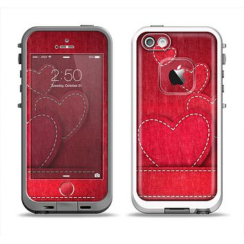 The Pocket with Red Scratched Hearts Apple iPhone 5-5s LifeProof Fre Case Skin Set