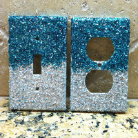 BLUE And SILVER GLITTER Ombre Switchplates - Set Of Two