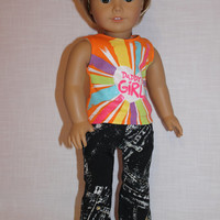"""2 piece set, """"Daddy's Girl""""  graphic print tank top,  black and white denim flare leg jeans ,18 inch doll clothes, American girl, Maplelea"""