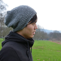 Hand Knit Hat Mens Hat Womens Hat Slouchy Hat Slouchy Beanie Winter Accessories