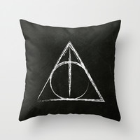 Deathly Hallows (Harry Potter) Throw Pillow by Daizy Jain