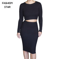 1 Set Women's O Neck Crop Tops And Skirt Set Women Sexy Long Sleeve Autumn Tracksuit  Plus Size Tracksuits New Women's New Suit
