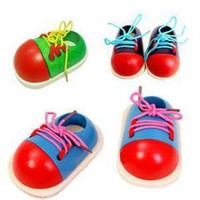 1PC Fashion Kids Montessori Educational Toys Children Wooden Toys Toddler Lacing Shoes
