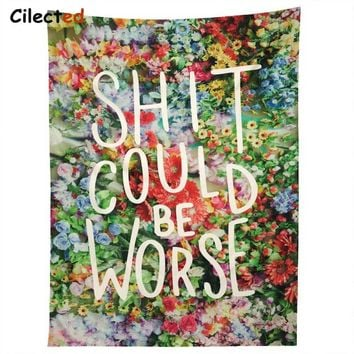 Cilected Floral Words Wall Tapestry Fabric Wallpaper Bedspreads Home Decor Twin Size Throw Bed Blanket Carpet