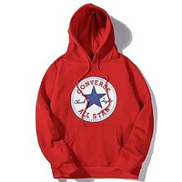 Alwayn Converse  new classic print sports long sleeve hooded sweater Red