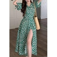 Women Chiffon Dress Temperament Floral Lace-up V-Neck Short-sleeved A-Line Ankle-Length Dress Beach Style