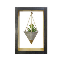 Wall Planter, Air Planter, Succulent Planter, Concrete Planter, Modern Planter, Hanging Planter, Mini Gold Planter, Shadow Box, Gift for Her