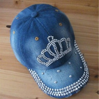2014 New Fashion High Quality Cotton Imperial Crown Baseball Adjustable Rhinestone Casual Cap Women Hat