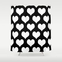 Hearts of Love Black & White Shower Curtain by Beautiful Homes