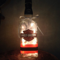 Motorcycle Whiskey Bottle lamp, motorcycle lover gift, bottle lamp, man cave lighting