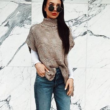 Plus Size Knit Tops Short Sleeve Pullover Irregular Sweater [11600887834]
