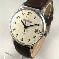 """Vintage Gent's Wristwatch """"Seconda"""". Mechanical Soviet men's watch with date, comes with brand new leather band!"""