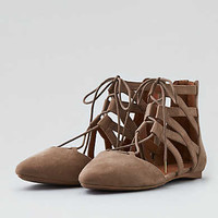 AEO D'Orsay Lace-Up Flat, Taupe