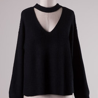 Thick Knit Choker Neckline Sweater - Black