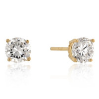 6mm New Sterling Round Cut Cz Studs Gold