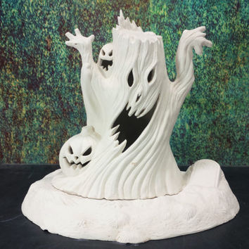 Haunted Tree Ghost Jack O' Lantern Lamp Graveyard Base Ready To Paint Unfinished Ceramic Bisque Vinatge Halloween Lamp Light Up Decoration