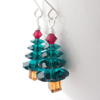 Swarovski Crystal Christmas Tree Earrings, Holiday Gift for Her