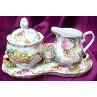 Pink Roses and Golden Grapes Chintz Porcelain Creamer Set on Tray Satin Lined Gift Box