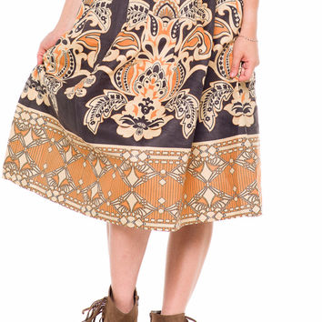 (akz) Victorian print suede flare knee length skirt