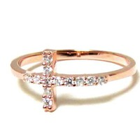 Sideways Cross Ring-Sterling Silver Ring With Hand Set Cubic Zirconia