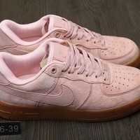 """""""Nike Air Force 1"""" Women Fashion Solid Color Chamois Casual Low Help Plate Shoes Sneakers"""