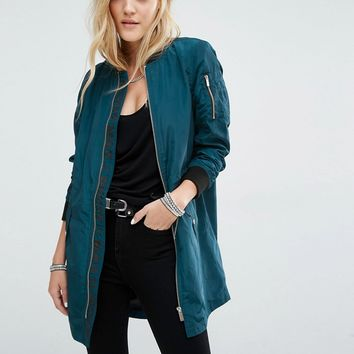 Noisy May Longline Bomber Jacket