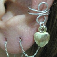 Silver pl. EAR Cuff with 925k Earring Threader - Gold Pl. Heart charm
