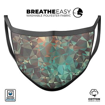 Abstract MultiColor Geometric Shapes Pattern - Made in USA Mouth Cover Unisex Anti-Dust Cotton Blend Reusable & Washable Face Mask with Adjustable Sizing for Adult or Child