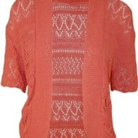WearAll Women's Plus Size Crochet Knitted Short Sleeve Cardigan - Coral - US 12-14 (UK 16-18)