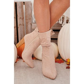 IMPERFECT Brandilicious Crystal Studded Booties (Beige)