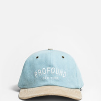 Blue Washed Denim Hat with Suede Brim