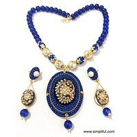 Traditional Tanjore Painting Pendant Necklace and Earring set