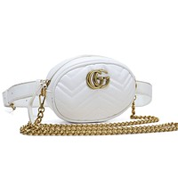 GUCCI fashion hot seller double G lady solid color zigzag line shopping shoulder bag #5
