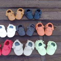 12 TO 18 mo. genuine leather toddler baby moccasins, baby moccasins, genuine leather toddler slippers, wholesale moccasins